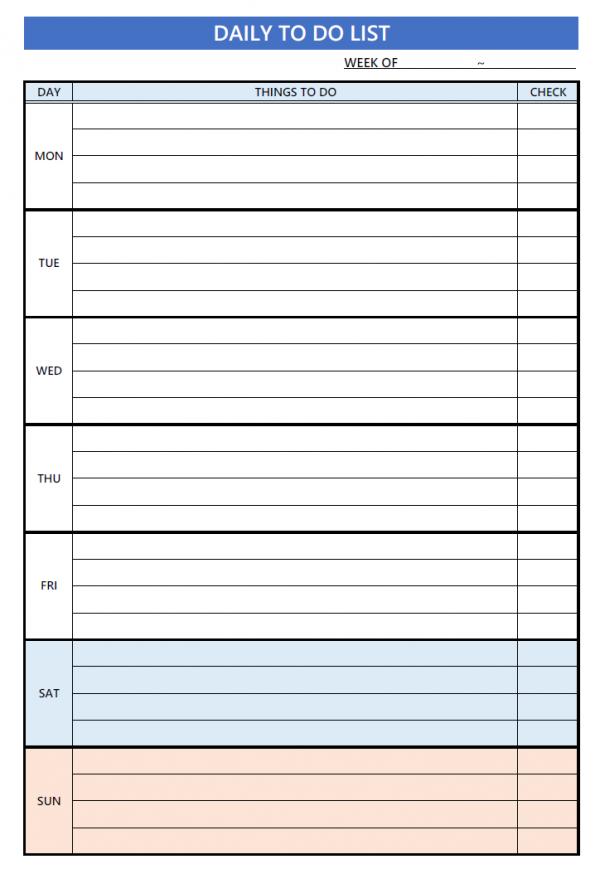 TO DOリストのテンプレート書式02・Excel