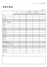 事業企画書のテンプレート書式03・Excel