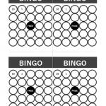 モノトーンのビンゴカード(A4・4面)のテンプレート書式・Excel