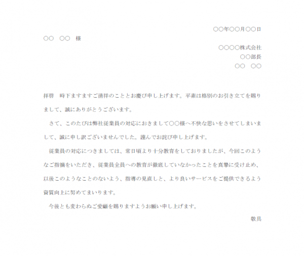 従業員対応への苦情のお詫び文テンプレート書式02・Word