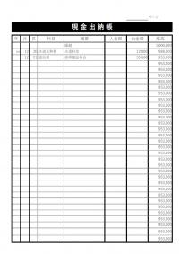 現金出納帳のテンプレート書式・Excel