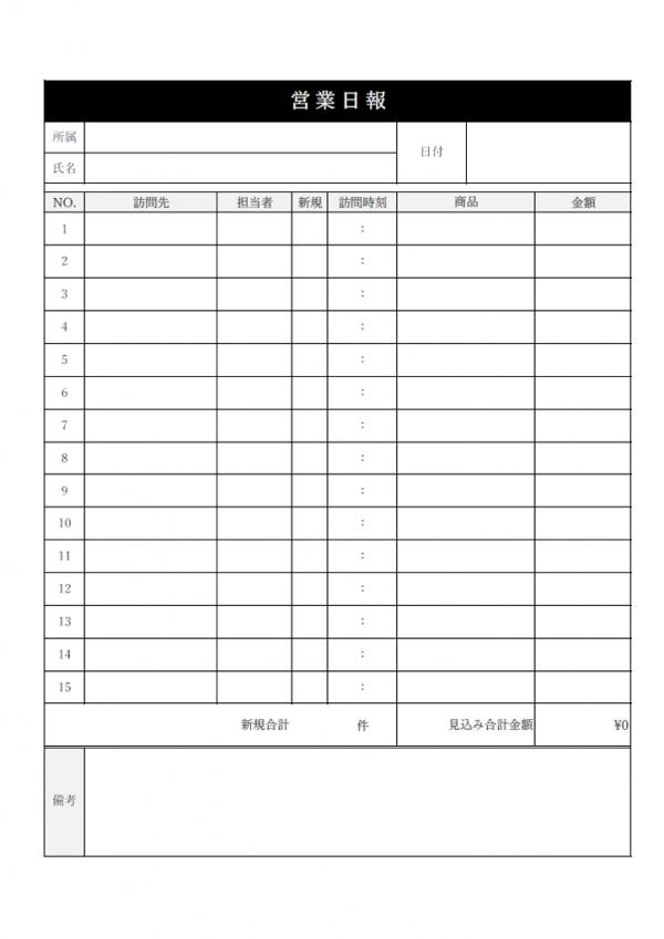 営業日報のテンプレート書式02・Excel
