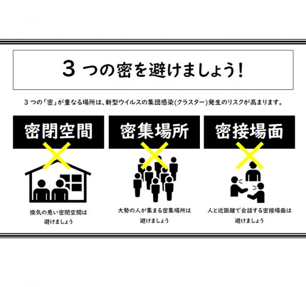 【横向き】3密・感染症対策のポスターのテンプレート書式・Word