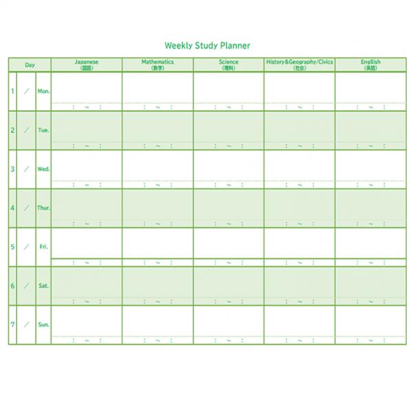 中学生向けの1週間分の学習計画表のテンプレート書式・Excel