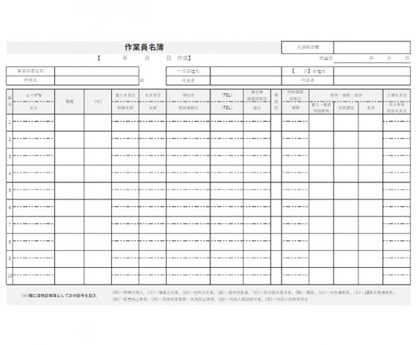 作業員名簿のテンプレート書式・Excel