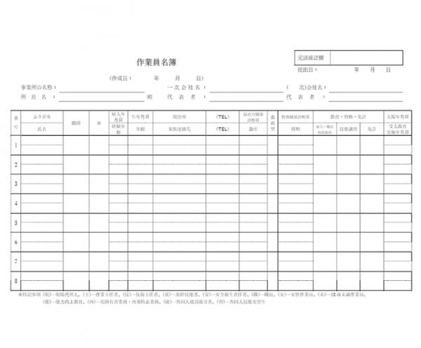 作業員名簿のテンプレート書式・W