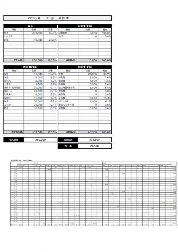 白黒の一ヵ月の家計簿のテンプレート書式・Excel
